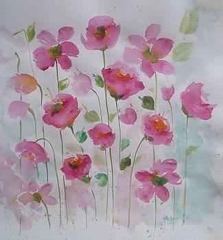 Pink Garden 1 by Kathy  Karas