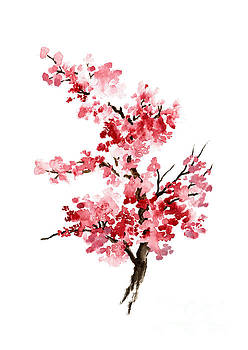 Cherry Blossom, Pink Gifts For Her, Sakura Giclee Fine Art Print, Flower Watercolor Painting by Joanna Szmerdt