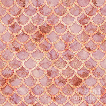 Tina Lavoie - Pink Gold Marble Mermaid Scales Abstract
