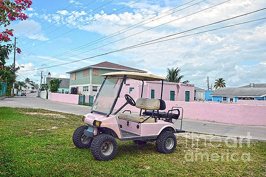 Pink Golf Cart in the Bahamas by Catherine Sherman