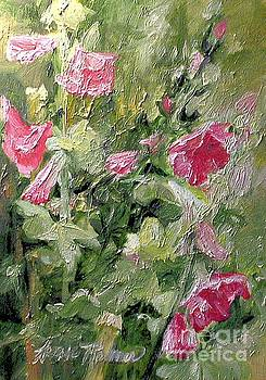 Pink Hollyhocks by Laurie Rohner
