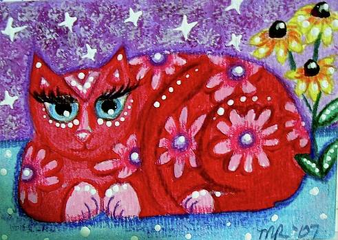Pink Kitty Cat with Black Eyed Susans by Monica Resinger