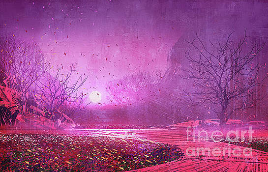 Pink landscape by Tithi Luadthong