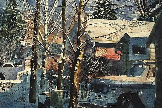 Pink Lane with Trucks by Martin Giesen