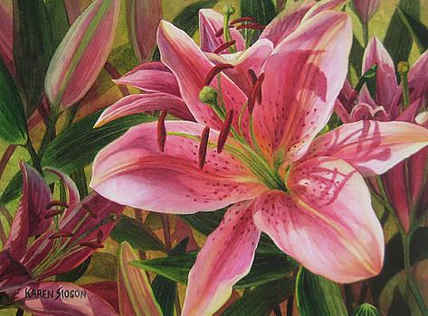 Pink Liliums by Karen  Sioson