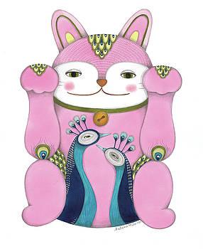 Pink Maneki-neko by Helena Melo