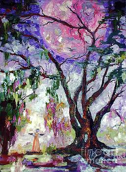 Pink moon In The Garden of Good and Evil Savannah Bird Girl by Ginette Callaway