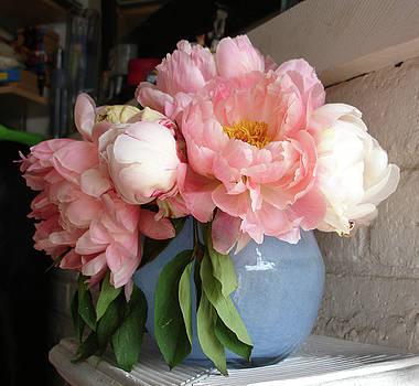 Pink Peonies in blue vase by Grace Matthews