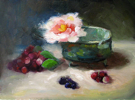 Pink Peony and Grapes by Keiko Richter