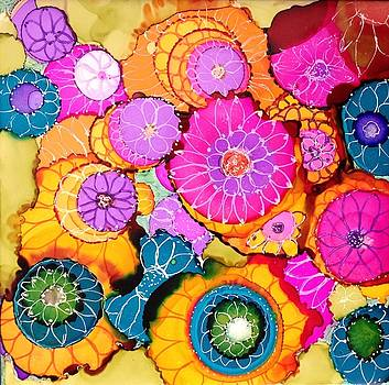 Pink Pinwheel Flowers by Suzanne Canner