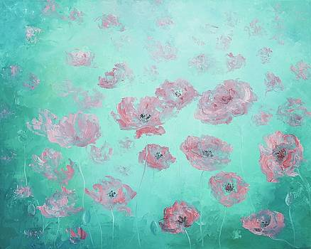 Jan Matson - Pink Poppies on soft green background
