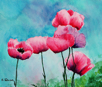 Pink Poppies by Suzanne Johnson
