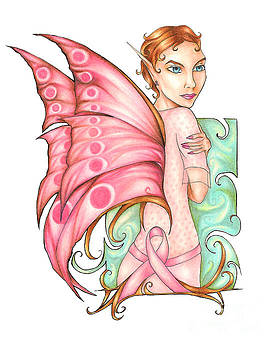 Pink Ribbon Fairy For Breast Cancer Awareness by Kristin Aquariann