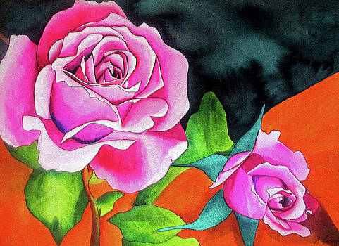 Pink Roses with Orange by Sacha Grossel