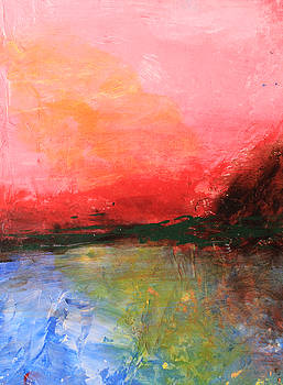 Pink Sky over Water Abstract by April Burton