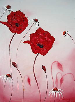 Pink Sky Red Poppies 10 by Portland Art Creations