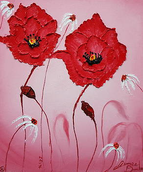 Pink Sky Red Poppies 12 by Portland Art Creations