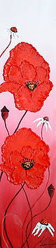 Pink Sky Red Poppies 7 by Portland Art Creations
