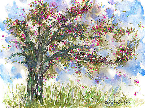 Pink Springtime Fairy Tree watercolour by CheyAnne Sexton