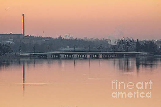 Pink Sunrise over the Rock River by Viviana  Nadowski