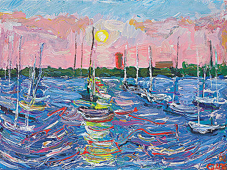 Pink sunset sailboats by Patrick Ginter