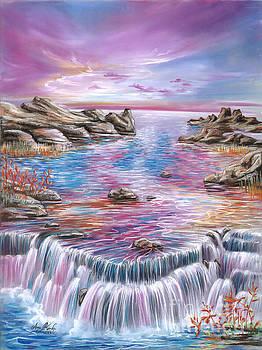 Pink Sunset Waterfall by Anne Koivumaki - Fine Art Anne