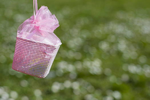 Newnow Photography By Vera Cepic - Pink tiny basket for Easter eggs handing in outdoors field of gr