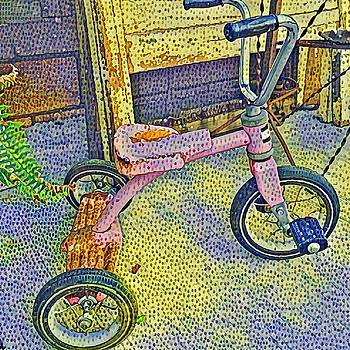 Pink Tricycle in Pointillism by Patricia Rex