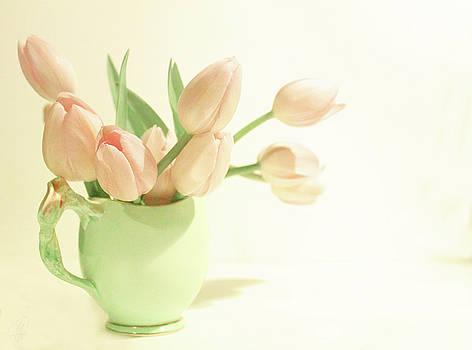 Pink Tulips Green Jug by Margaret Hormann Bfa