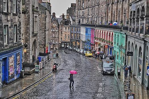 Pink Umbrella in Edinburgh by Steffani Cameron