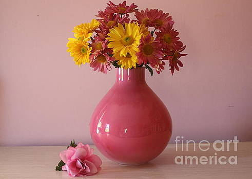 Pink Vase and Autumn Blossoms - Still Life by Dora Sofia Caputo Photographic Art and Design