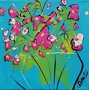 Pink  White Sweetpeas by Terri Einer