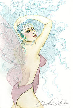 Pink wing fairy by Christine Winters