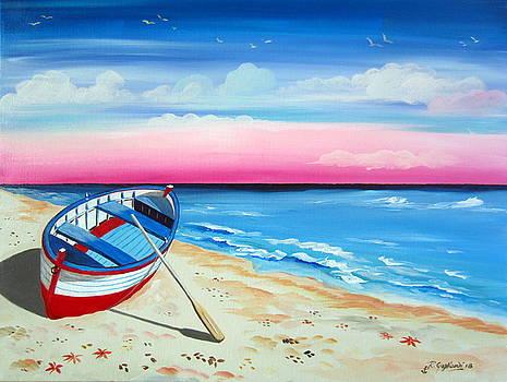 Pinkish Sunset And Boat by Roberto Gagliardi
