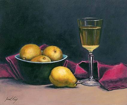 Pinot and Pears Still Life by Janet King