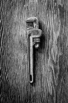 Pipe Wrench on Plywood 62 in BW by YoPedro