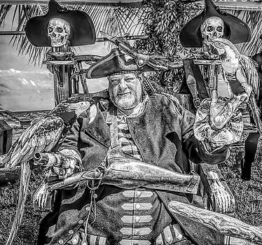 Pirate Captain And Parrots Black and White by Garry Gay