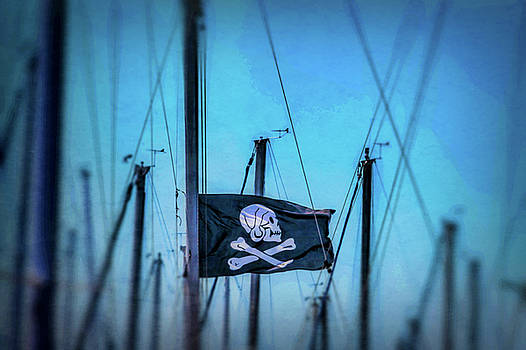 Pirate Flag Among Masts by Garry Gay