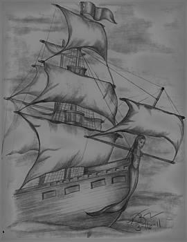 Pirate Ship Sketch by Vickie Roche