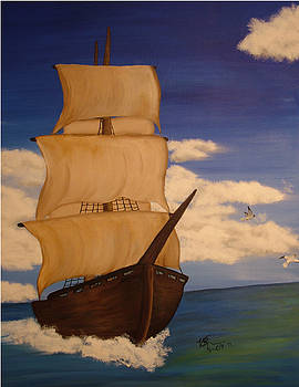 Pirate Ship with Gulls by Vickie Roche