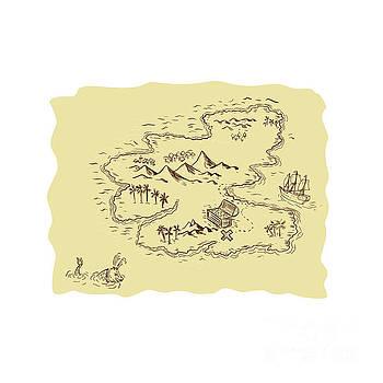 Pirate Treasure Map Sailing Ship Drawing by Aloysius Patrimonio