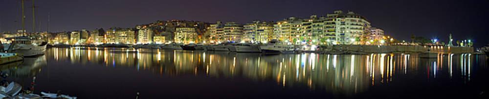 Pireas bay Panoramic at night 126 Degrees  by Vassilis Triantafyllidis