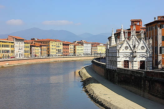 Pisa Riverside View with the church Santa Maria della Spina by Kiril Stanchev