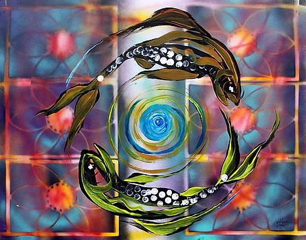 Pisces With Six Fence Lotus by J Vincent Scarpace