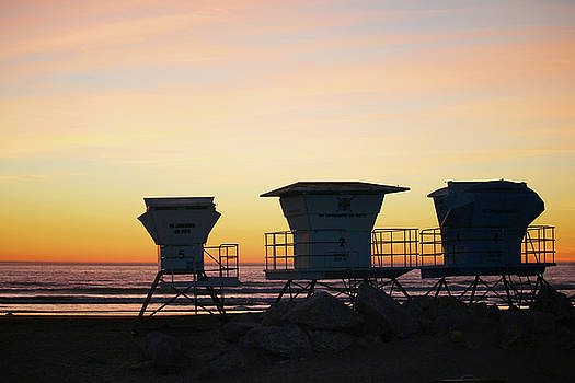 Pismo Beach Lifeguard Towers by Art Block Collections