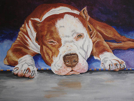 Pitbull relaxing by Laura Bolle