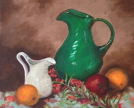 Pitchers and fruit by Sylvia Miller