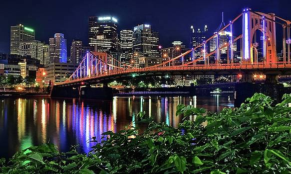 Pittsburgh lights Bridge and Foliage by Frozen in Time Fine Art Photography