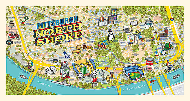 Pittsburgh North Shore Map by Ron Magnes