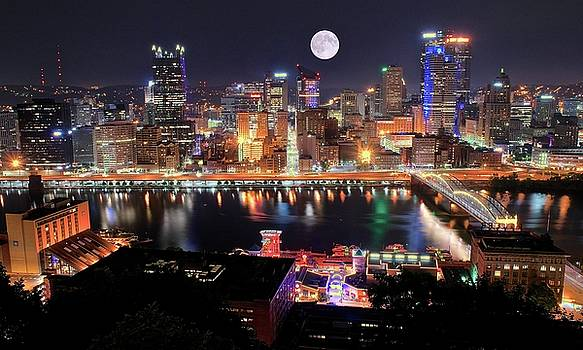 Pittsburgh PA Full Moon by Frozen in Time Fine Art Photography